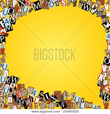 Vector talk bubble of letters from newspaper and magazines on yellow