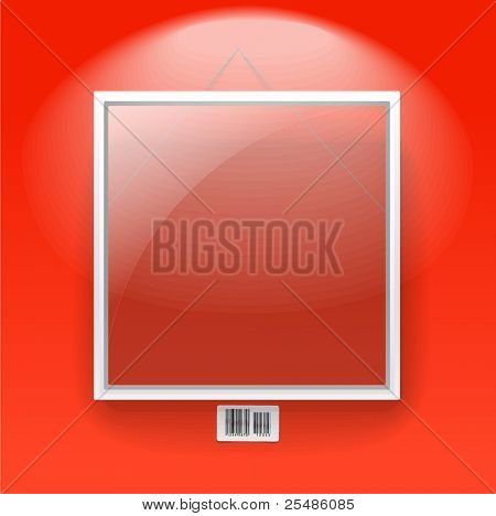 Glass board with white frame on a red wall with barcode sign. Text template
