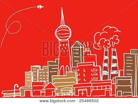 Hand-drawn modern city sketch