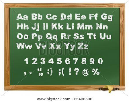 green Wood school desks set and hand-drawn chalk alphabet