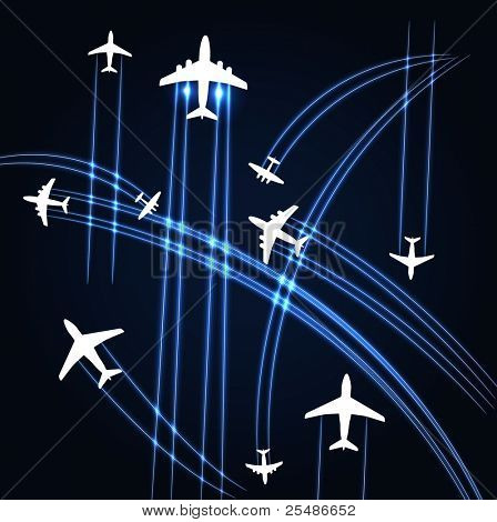 Airplanes trajectories background