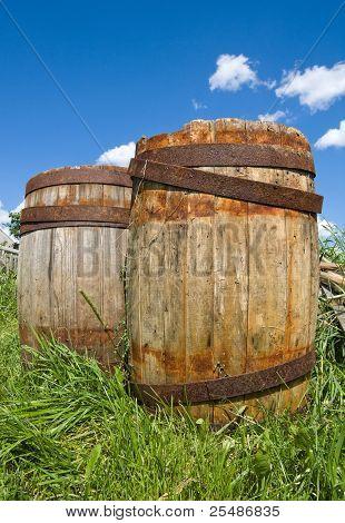 Old Wooden Barrels Cask For Wine