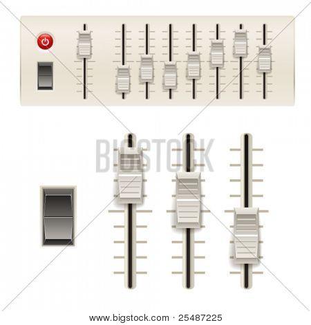 Music mixer sliders