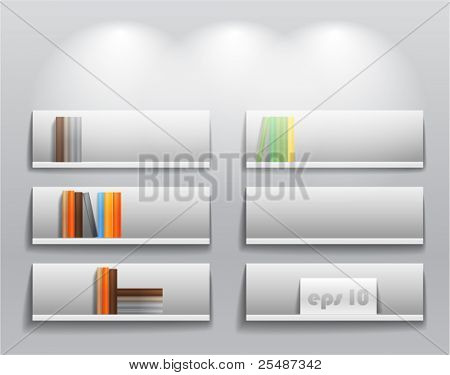 library shelves with color books