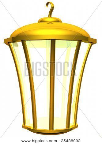 Gold pendant lamp. 3d illustration
