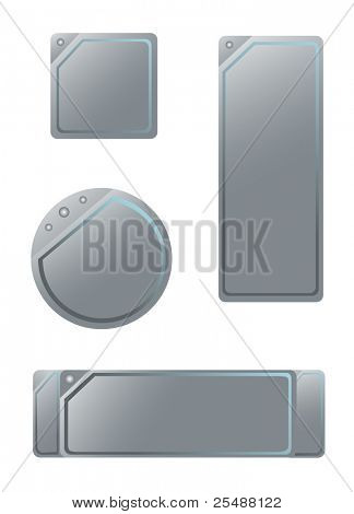 Four metal banners. Vector illustration
