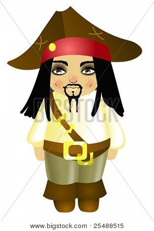 Small funny pirate. Vector illustration