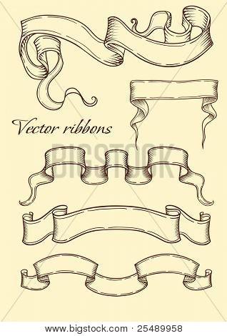 Ribbon in retro style. Vector illustration