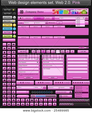 Web design elements pink. Vector illustration