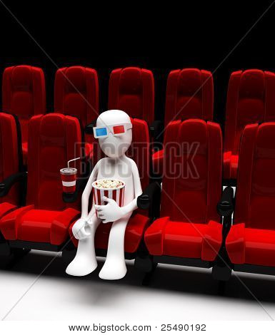 Man in movie in stereo glasses. 3d illustration