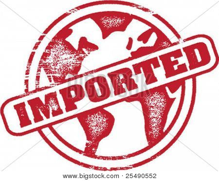 Imported Globe Rubber Stamp Imprint