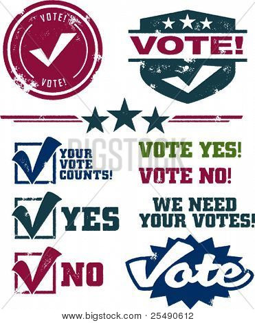 Vintage Style Distressed Voting Symbols