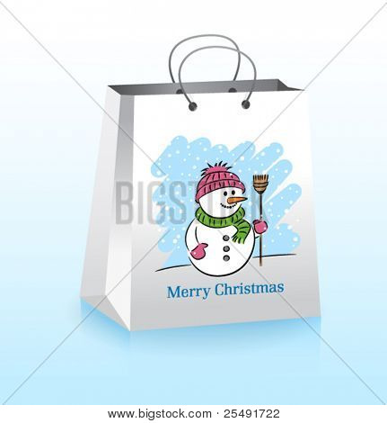 Christmas bag with a cheerful snowman
