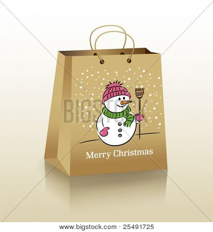 Christmas cardboard bag with a cheerful snowman