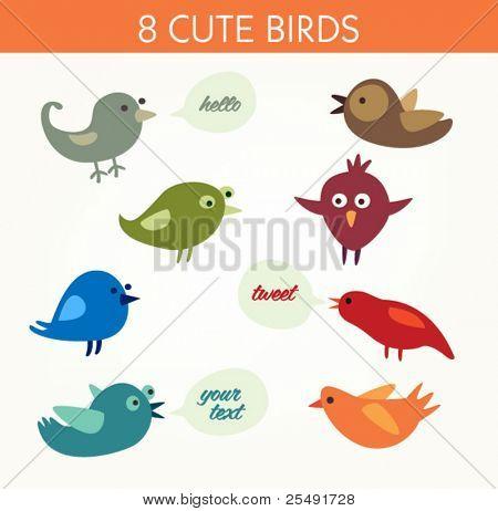 8 niedliche Vögel