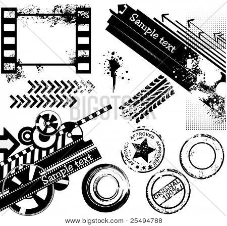 Grunge design elements: banners, film strips, rubber stamps, tyre prints