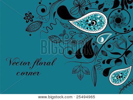 Vector floral corner, paisley motif