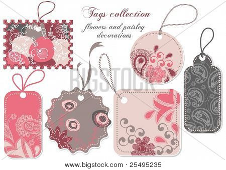 Price tags collection in pink and grey