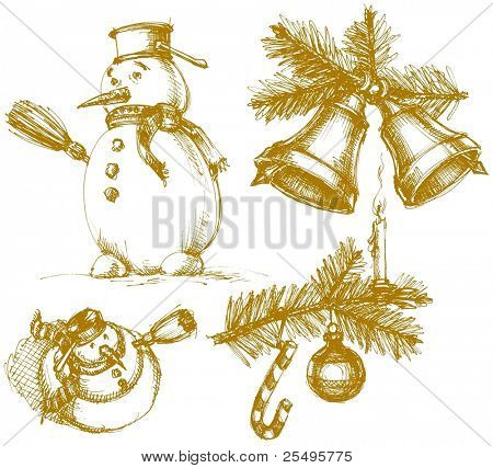 Christmas symbols in vintage style