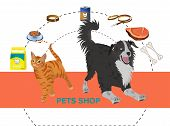 Pet Shop Decorative Icons Set With Dog And Cat And Goods For Pets Cartoon Isolated On White. Pet Sho poster