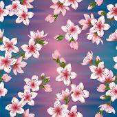 Japanese Cherry Blossom  Sakura Branches Vector Seamless Pattern. Linen Fabric, Textile, Wallpaper V poster