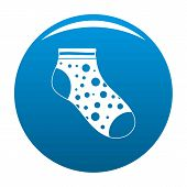 Small Sock Icon. Simple Illustration Of Small Sock Icon For Any Design Blue poster