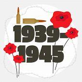Second World War Commemorative Background. Flat Illustration Of Second World War Commemorative Vecto poster