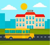 School Bus Driving To School Background. Flat Illustration Of School Bus Driving To School Vector Ba poster
