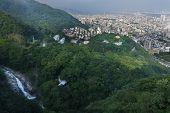 Birdeye View Of Kobe Cityscape, Mountain,forest And  Nunobiki Waterfall From  Ropewape To Mount Rokk poster