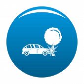 Crashed Tree Icon. Simple Illustration Of Crashed Tree Icon For Any Design Blue poster