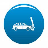 Crashed Pillar Icon. Simple Illustration Of Crashed Pillar Icon For Any Design Blue poster