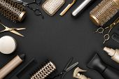 Hairdresser Tools On Black Background With Copy Space In Center poster
