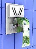stock photo of adversity humor  - Euro in the toilet paper - JPG