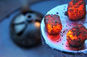 Lit Coals For Hookah, Hookah Tile, Heat, Fire, Hot Coals, Hot Hookah Coals, Bowl With Tobacco And Co poster