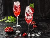 Fresh Currant Cocktail. Fresh Summer Cocktail With Red Currant And Ice Cubes. Glass Of Red Currant M poster
