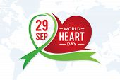 World Heart Day Greeting Card With Graphic Element Heart And Ribbon. Vector Illustration Concept Wor poster