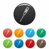 Digital Thermometer Icon. Simple Illustration Of Digital Thermometer Icons Set Color Isolated On Whi poster