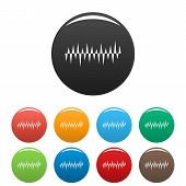 Equalizer Pulse Icon. Simple Illustration Of Equalizer Pulse Icons Set Color Isolated On White poster