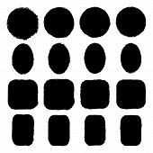 Vector Set Of Round, Oval, Square, Rectangular Stickers, Labels Painted With An Ink Brush. Black Gru poster