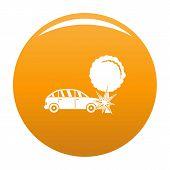 Crashed Tree Icon. Simple Illustration Of Crashed Tree Icon For Any Design Orange poster