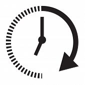 Passage Of Time Icon With Shadow On Black Background. Flat Style. Time Icon For Your Web Site Design poster