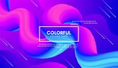 Vector 3d Colorful Fluid Shapes. Abstract Background With Vibrant Gradient. Modern Color Wave Fluid  poster