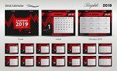Set Desk Calendar 2019 Template Design Vector, Cover Design, Set Of 12 Months, Week Starts Sunday, S poster