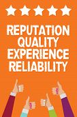 Word Writing Text Reputation Quality Experience Reliability. Business Concept For Customer Satisfact poster