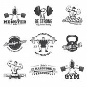 Bodybuilding, Powerlifting, Kettlebell, Workout, Fitness Logo Templates Set. Gym Club Logotypes. Bod poster