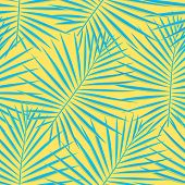 Tropical Pattern Seamless Background. Palm Leaves, Modern Seamless Summer Tropic Art. Colorful Trend poster