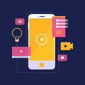 Digital Marketing And Mobile Video Concept. Mobile Phone With Yellow Video Player Icon On Screen And poster