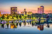 Augusta, Georgia, USA skyline on the Savannah River at dusk. poster