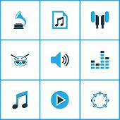 Audio Icons Colored Set With Sound, Earphone, File And Other Gramophone Elements. Isolated  Illustra poster