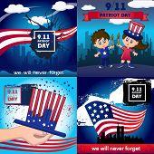 Patriot Day September Memorial Banner Concept Set. Cartoon Illustration Of 4 Patriot Day September M poster